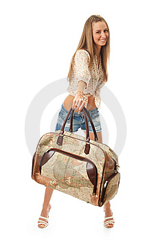 The Young Beautiful Girl With A Bag Royalty Free Stock Photography - Image: 13717337