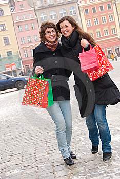 Two Happy Girls Fter Shopping Stock Photography - Image: 13725282