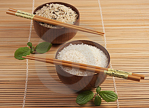 Two Bowls With  Rice Royalty Free Stock Photography - Image: 13727827