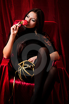 Beautiful Woman With A Rose Royalty Free Stock Photos - Image: 13729238