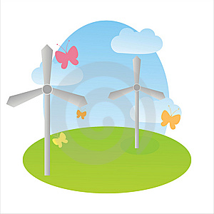Landscape With Wind Turbines Stock Images - Image: 13730404