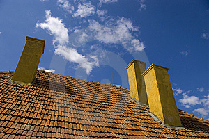 Three Chimneys On Rooftop Stock Photo - Image: 13731290
