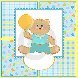 Baby's Greetings Card With Cat Stock Photo - Image: 13733050