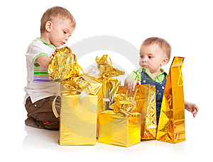 Two Boys With Gifts Stock Photo - Image: 13735960