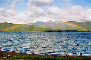 Lake Te Anau Rainbow, New Zealand Royalty Free Stock Photography - Image: 13736737