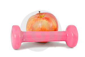 Dumbbell And Apple Stock Photo - Image: 13737330