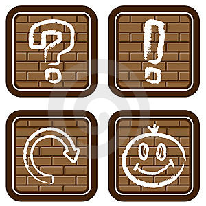 Brick Buttons With Icons Of Graphic Symbols (2) Stock Photo - Image: 13738200