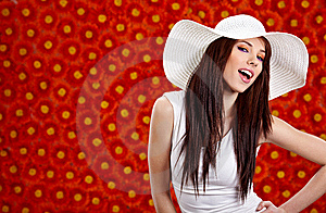 Woman Over Red Flowers Wall Stock Image - Image: 13738821