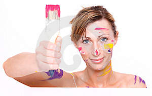 Brush Colorful Paint Portrait Stock Image - Image: 13742591