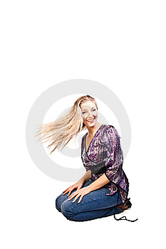 Woman Sitting In Studio Stock Images - Image: 13743924