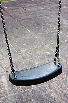 Empty Swing On The Playground, Isolated Stock Photography - Image: 13744352