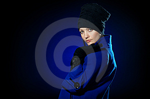 Lady  In A Blue Topcoat Royalty Free Stock Photo - Image: 13747155