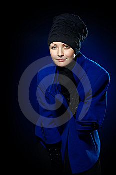 Lady  In A Blue Topcoat Royalty Free Stock Image - Image: 13747166