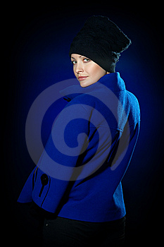 Lady  In A Blue Topcoat Royalty Free Stock Photos - Image: 13747178