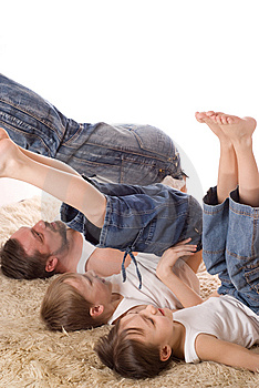 Father With His Two Sons Royalty Free Stock Photography - Image: 13747227