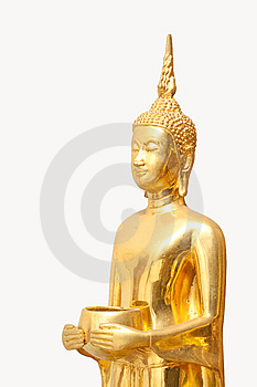 Isolated Golden Budha With Alms-bowl Royalty Free Stock Photography - Image: 13748947