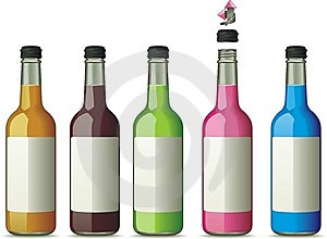 Five Bottles With Color Drinks Royalty Free Stock Image - Image: 13751266