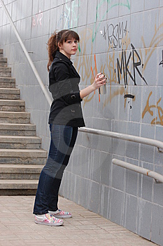 Teen Girl And Graffiti Royalty Free Stock Images - Image: 13754359