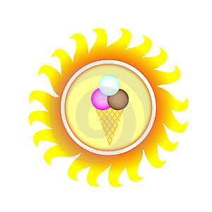 A Symbol Of Sun With Ice Cream Royalty Free Stock Photos - Image: 13754568