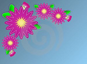 Vector Zinna Flower Border On Blue Copy Space Royalty Free Stock Photo - Image: 13754875