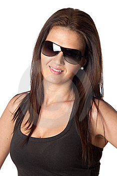 Attractive Young Woman With Sunglasses Royalty Free Stock Photo - Image: 13755735