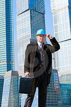 Engineer With Blue Hard Hat Holding Briefcase Stock Image - Image: 13758011