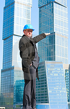 An Engineer With Blue Hard Hat Standing Confidentl Stock Images - Image: 13758244