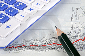 Graph, Pencil And Calculator Royalty Free Stock Images - Image: 13758579