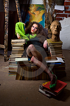 Woman And Books Stock Image - Image: 13758591