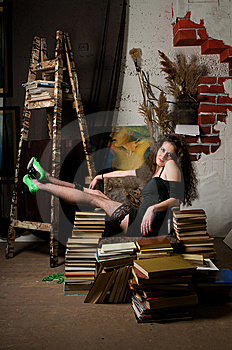 Woman And Books Royalty Free Stock Images - Image: 13758729