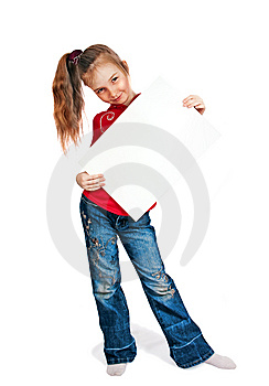 Little Girl Keeps Card Royalty Free Stock Photography - Image: 13764847