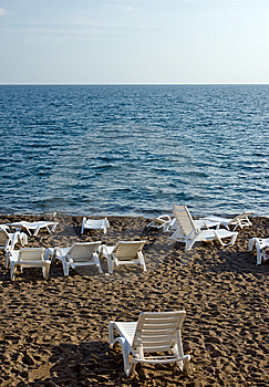 Chaise Lounges On Beach Royalty Free Stock Images - Image: 13766649