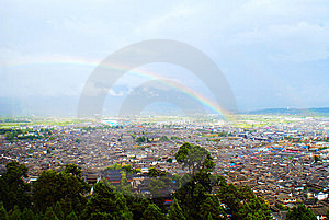 Rainbow Over The Lijiang Old Town Stock Photography - Image: 13766682
