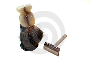Old Fashioned Razor And Shaving Cream Brush Stock Photo - Image: 13768110