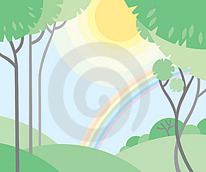 Trees, Sun And A Rainbow Stock Images - Image: 13769494