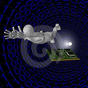 Android Card In The Computer's Binary System Stock Photos - Image: 13769523