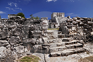 Tulum Ruins With Temple Stock Photography - Image: 13770282