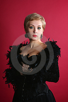 The Blonde In A Black Boa Stock Photos - Image: 13772903