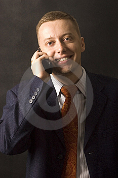 Happy Businessman With Phone Royalty Free Stock Photography - Image: 13773647