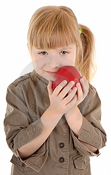 Baby Girl With Apple Stock Photography - Image: 13779032