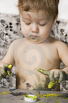 Dirty Boy Sketching. Stock Images - Image: 13779464