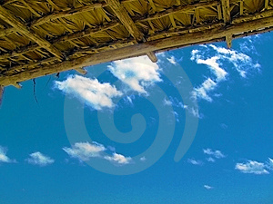 Blue Sky Under Hut Roof Stock Photo - Image: 13780020