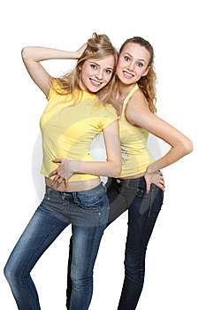 Two Young Happy Girls Royalty Free Stock Photo - Image: 13780485