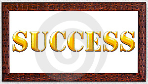 Gold Word Success In A Frame. Stock Image - Image: 13780801
