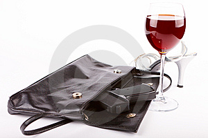 Closeup Of Gun And Glass Of Wine Stock Photography - Image: 13782802