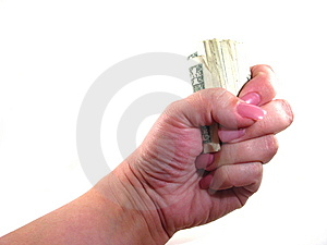 Female Fistful Of Cash Royalty Free Stock Photos - Image: 13784968