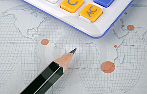 World Map, Pencil And Calculator Stock Photography - Image: 13788482