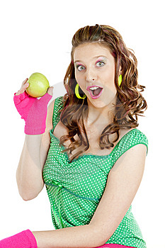 Woman With Apple Royalty Free Stock Photos - Image: 13790608