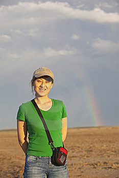 Lady And Rainbow Royalty Free Stock Image - Image: 13791286