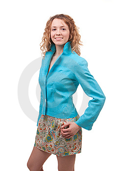 Woman Dressed In Blue Coat Stock Image - Image: 13796961